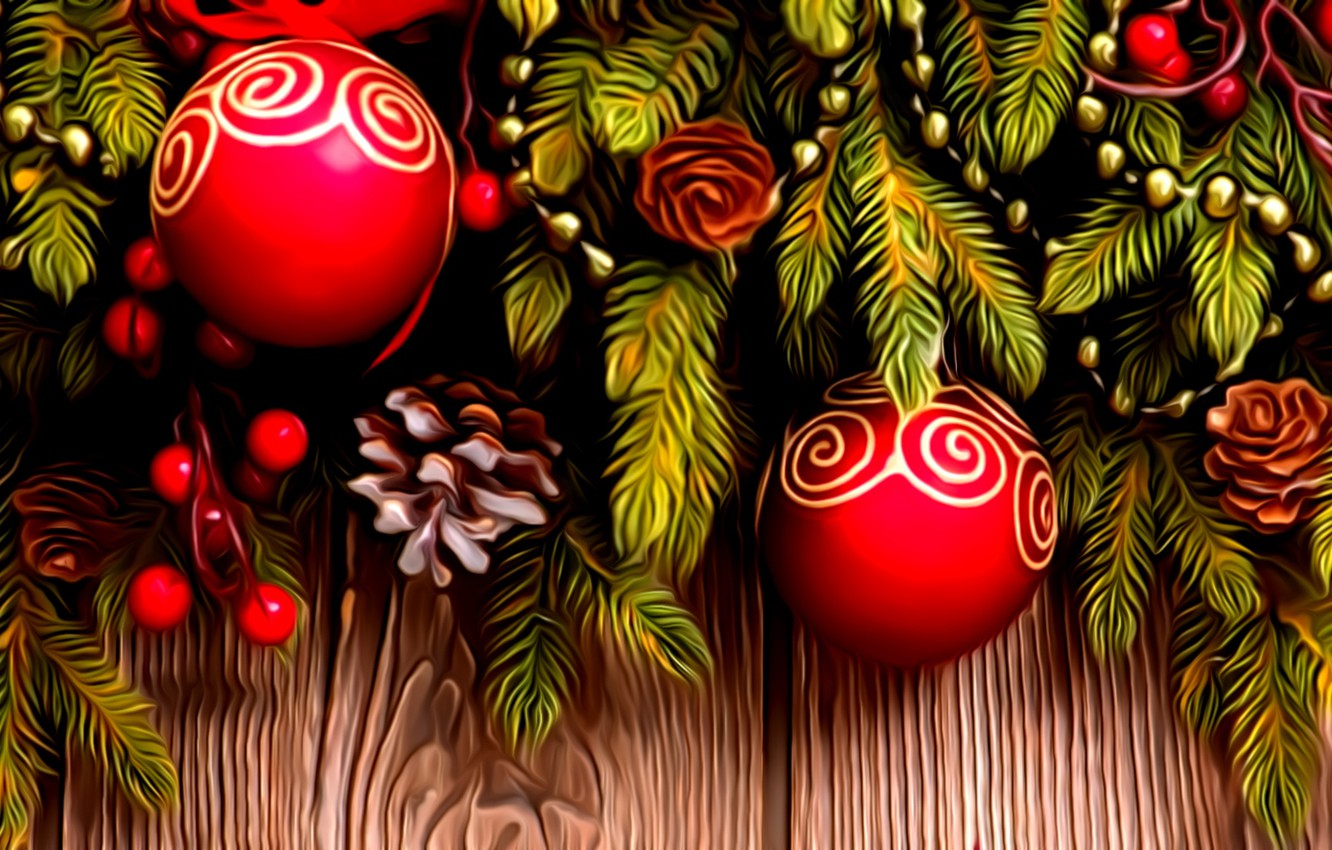 Photo wallpaper rendering, holiday, figure, New Year, beads, Christmas decorations, spruce branch, red balls