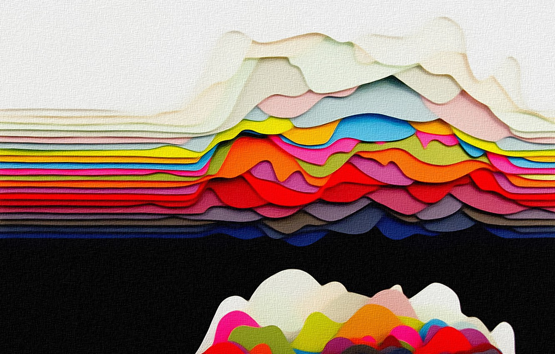 Photo wallpaper wave, color, line, abstraction, fantasy, paint, figure, texture