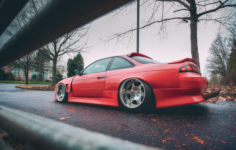 Photo wallpaper red, Silvia, Nissan, Nissan Silvia, S14