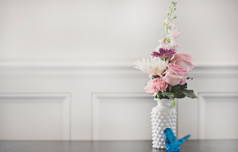 Photo wallpaper flowers, bouquet, vase