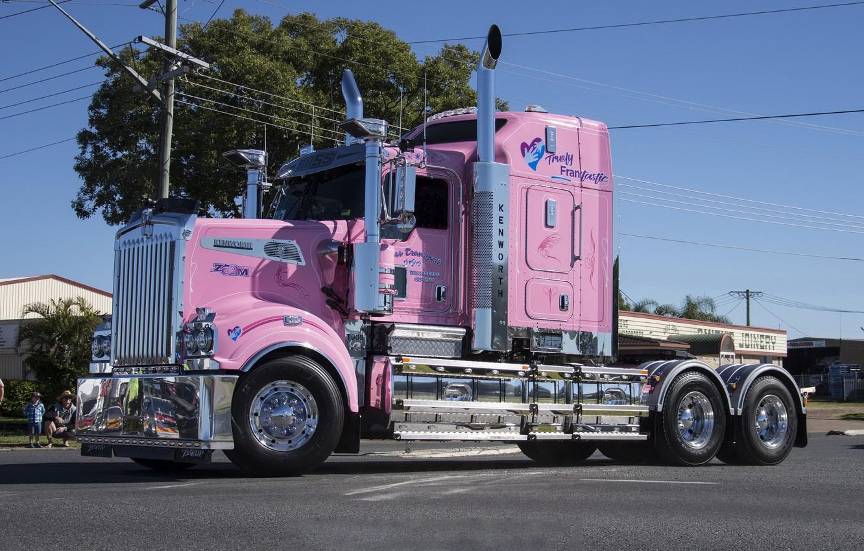 Photo wallpaper Pink, Kenworth, T909