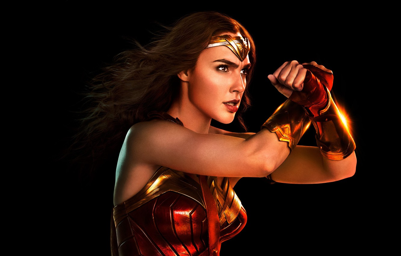 Photo wallpaper fiction, black background, Wonder Woman, poster, comic, DC Comics, Diana, Gal Gadot, Gal Gadot, Justice …