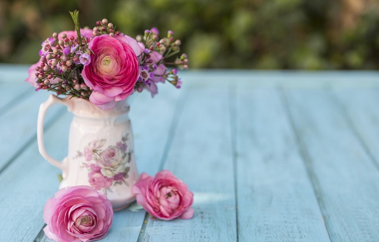 Photo wallpaper flowers, bouquet, vase, pink, with, flowers, scene, spring, vase, tones