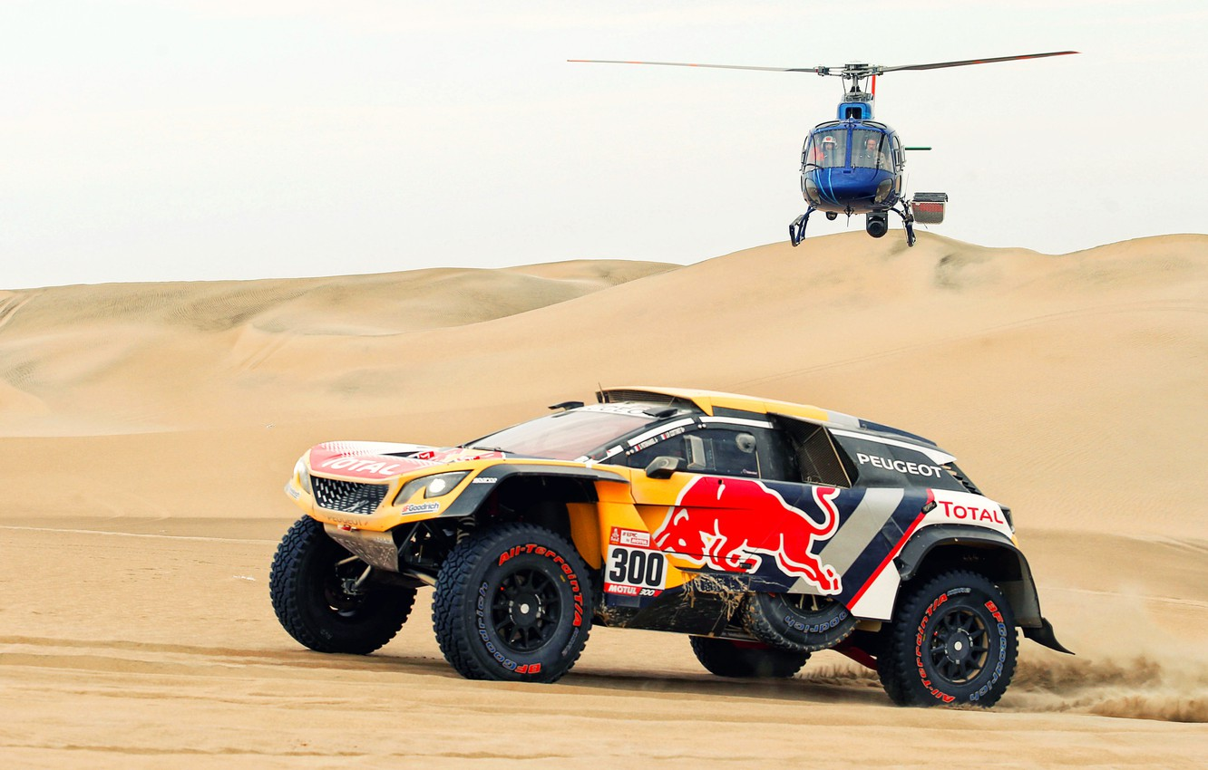 Photo wallpaper Sand, Auto, Sport, Machine, Speed, Helicopter, Race, Peugeot, Red Bull, 300, Rally, Dakar, Dakar, SUV, …