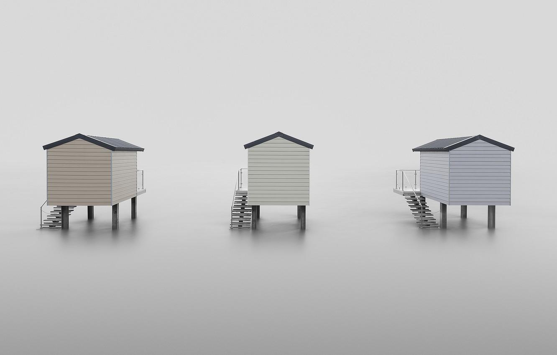Photo wallpaper sea, fog, houses