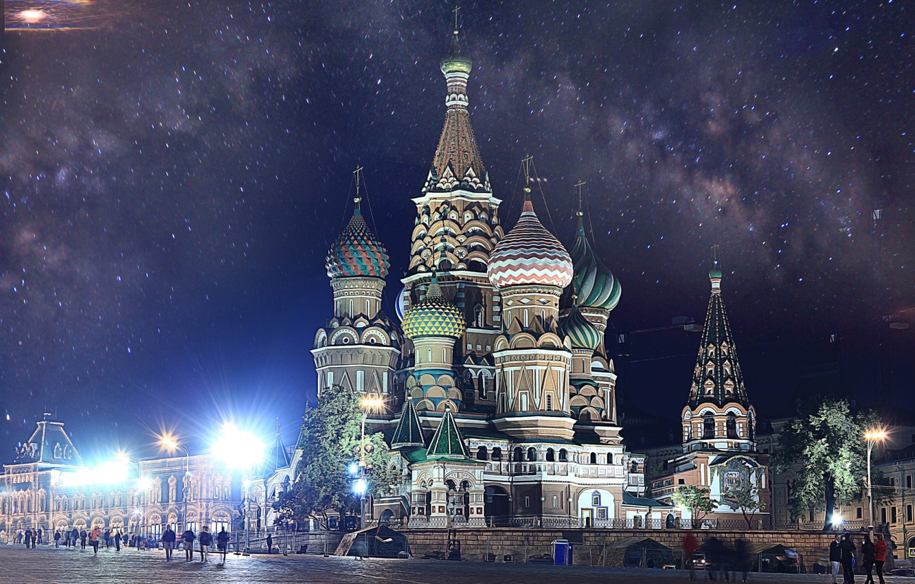 Photo wallpaper Moscow, The Kremlin, St. Basil's Cathedral, Russia, Moscow, Kremlin, Red Square