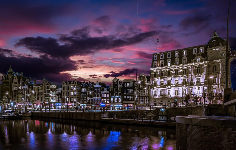 Photo wallpaper building, home, Amsterdam, channel, Netherlands, night city, promenade, Amsterdam, Holland, Netherlands, Jordaan, Jordan, Singelgracht Canal