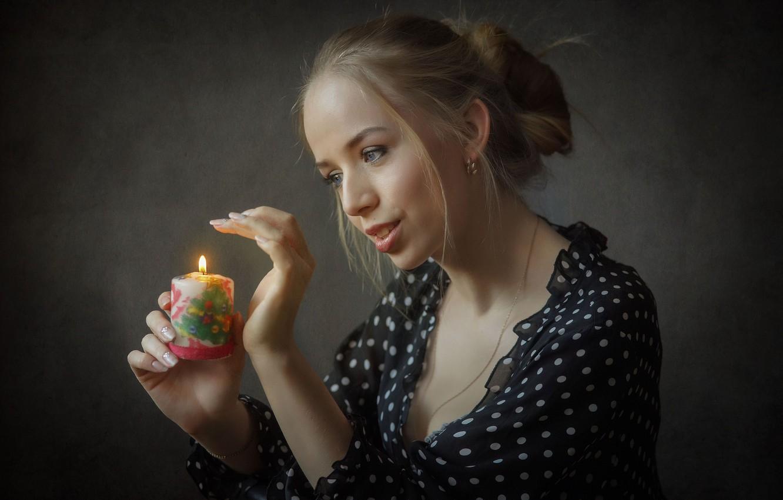 Photo wallpaper girl, smile, candle, Ilya * Filimoshin