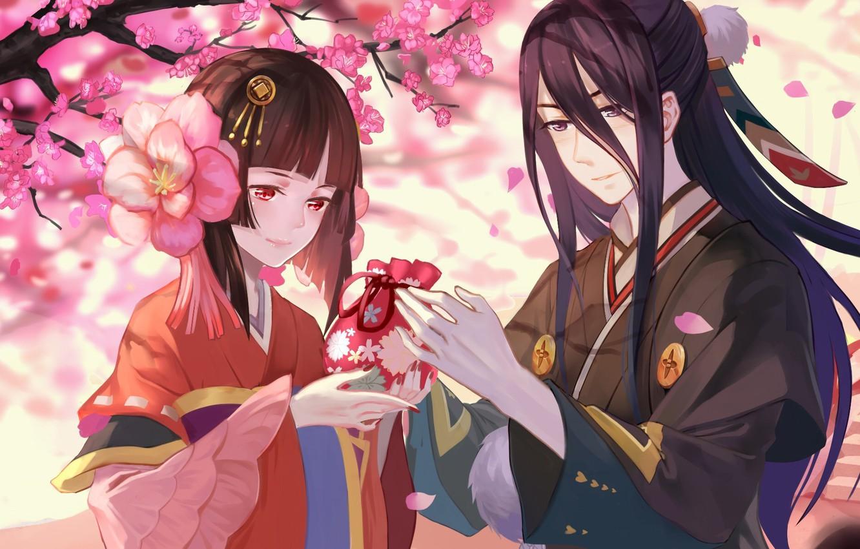 Wallpaper love, anime, sakura, japanese, kimono, bishojo ...