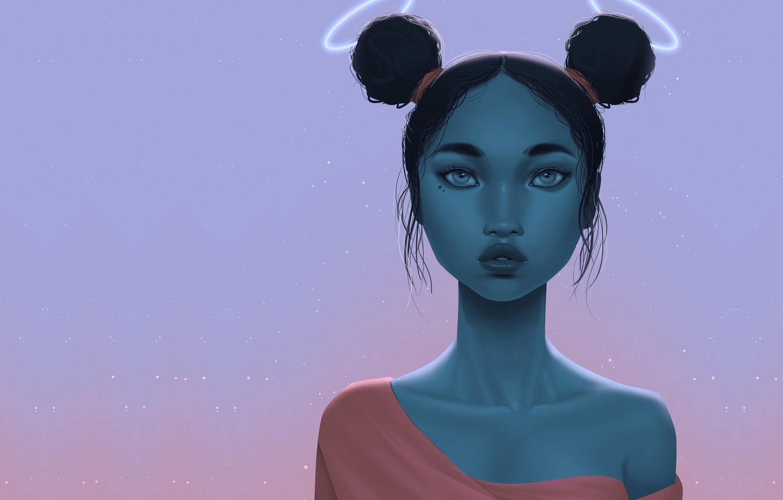 Photo wallpaper girl, fiction, art, illustrator, Come Bambisa, Cosmic Sunset