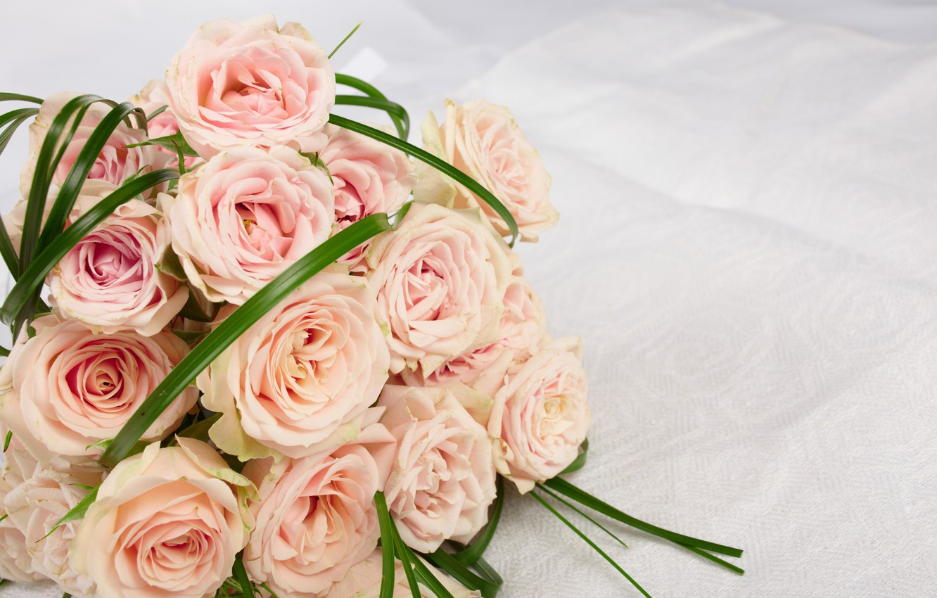 Photo wallpaper roses, bouquet, pink, flowers, roses