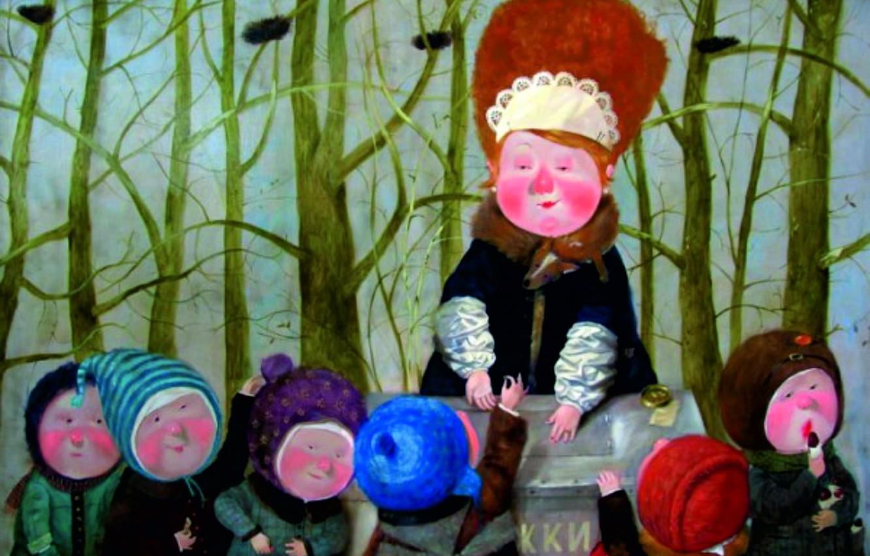 Photo wallpaper children, horns, saleswoman, Gapchinska