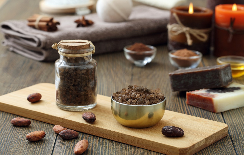 Photo wallpaper chocolate, soap, cosmetics, salt