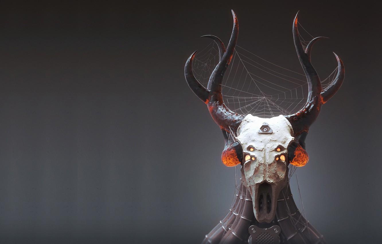 Photo wallpaper skull, web, art, horns, totem, Prey, Mark Van Haitsma