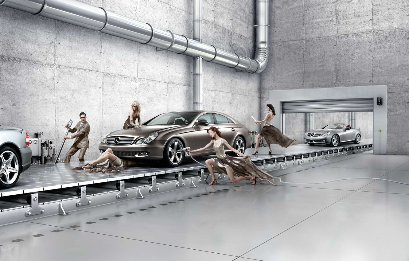 Wallpaper Mercedes Benz Assembly Line Creative Background Car