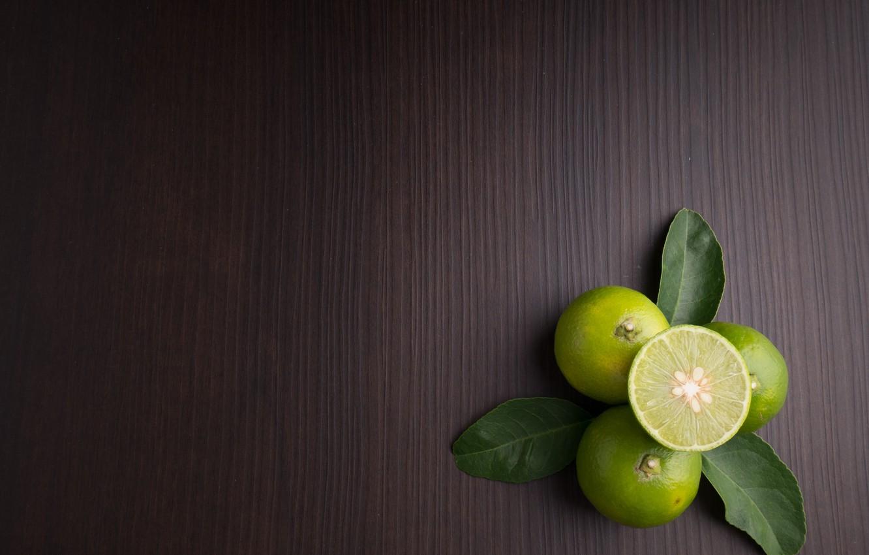 Photo wallpaper leaves, Lime, citrus