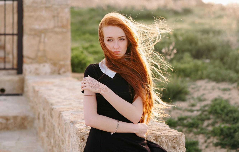 Photo wallpaper face, the wind, model, hair, dress