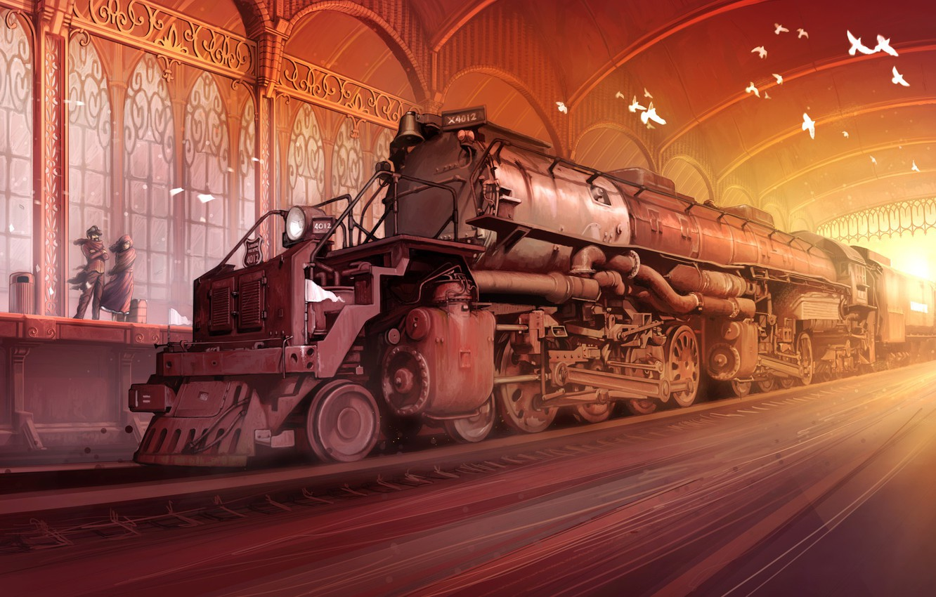 Photo wallpaper station, the engine, the platform, composition, bigboy without, TRAINS 2013