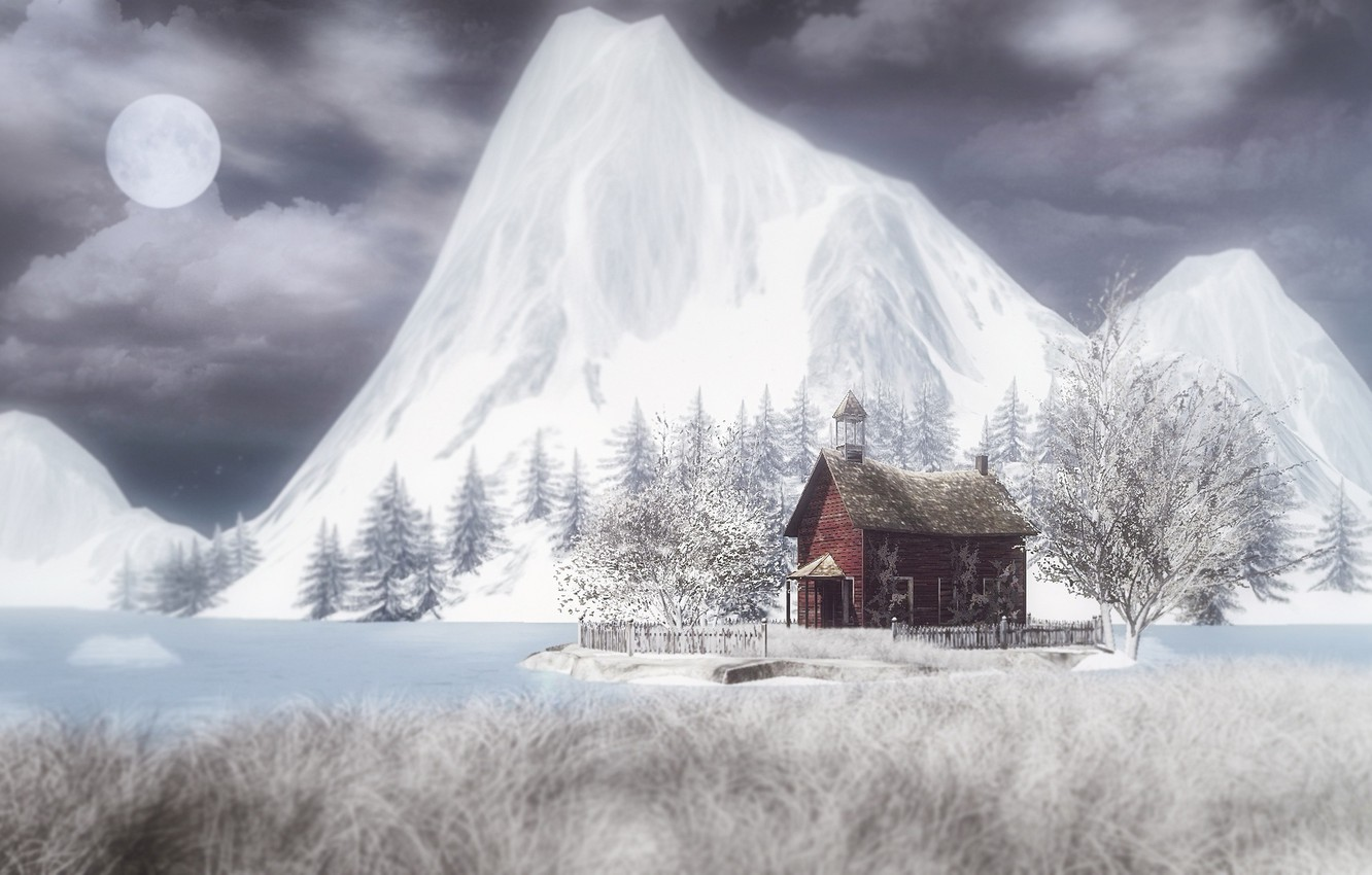 Photo wallpaper winter, mountains, night, the moon, house