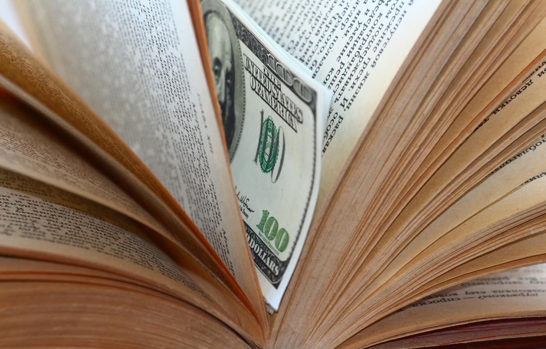 Photo wallpaper macro, book, dollars, bookmark