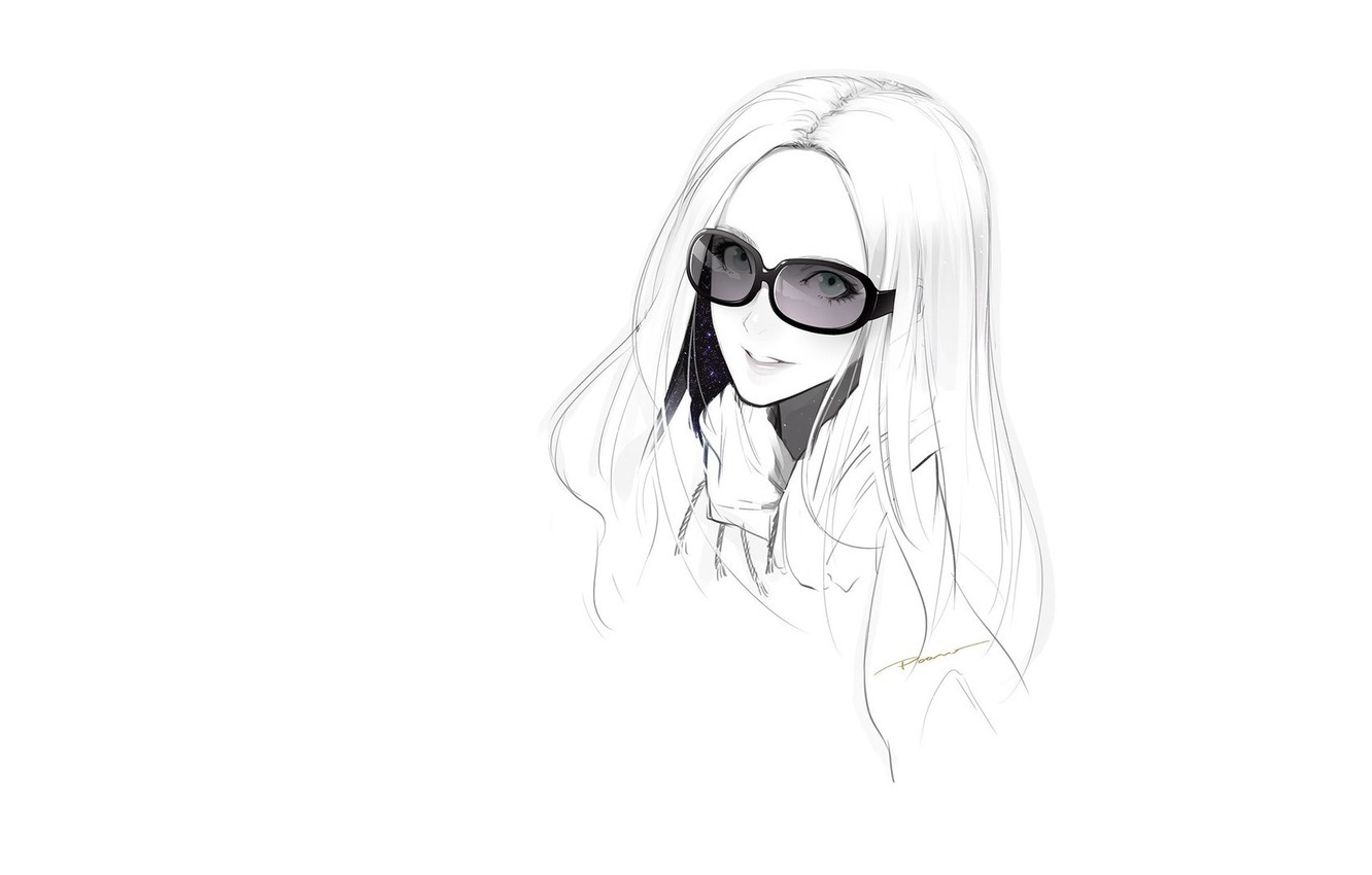 Wallpaper Face Smile Figure Sketch White Background