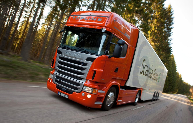 Photo wallpaper truck, in motion, Truck, Scania, Scania, the truck, Topline, R480