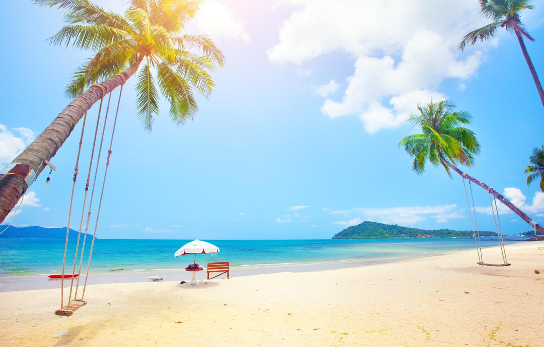 Photo wallpaper sand, sea, beach, the sun, palm trees, shore, summer, beach, sea, island, sand, paradise, palms, ...
