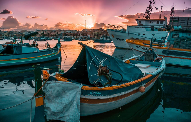 Photo wallpaper the sun, sunrise, boat, Marina, morning, yacht, the sun, morning, sunrise, yacht, wharf, a boat