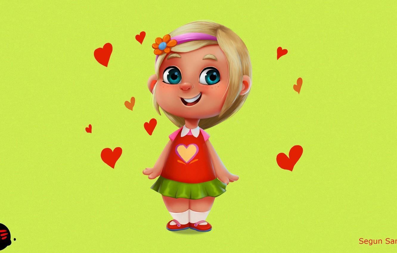 Photo wallpaper mood, art, girl, hearts, children's, little Girl, according to samson