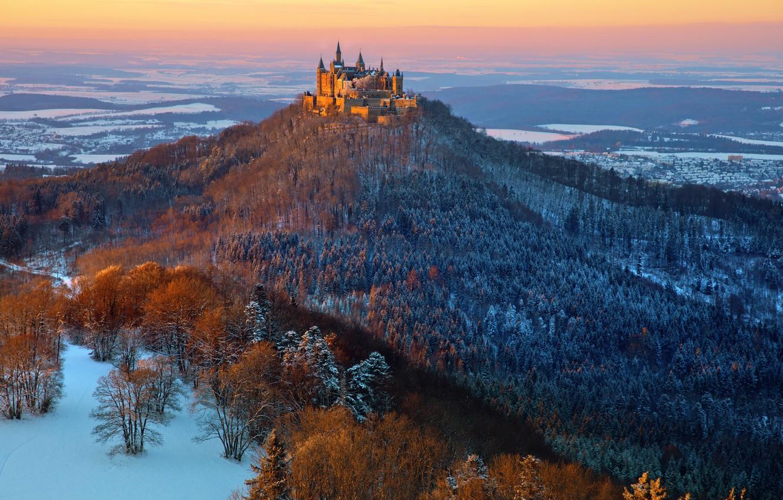 Photo wallpaper castle, Hohenzollern, Hohenzollern in winter, Winter mood