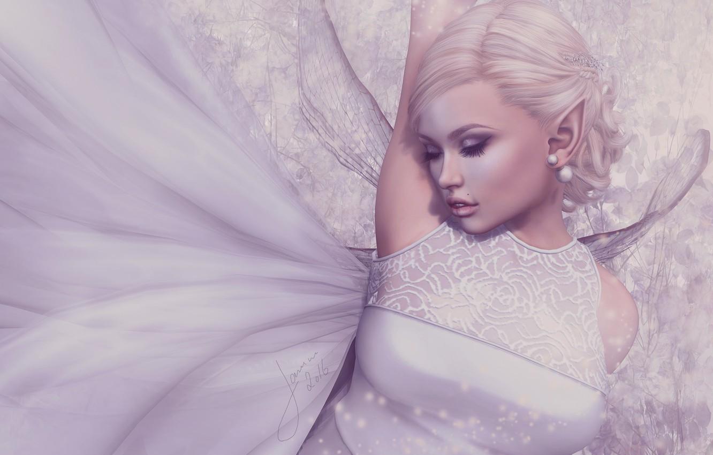 Photo wallpaper girl, elf, wings, dress, blonde