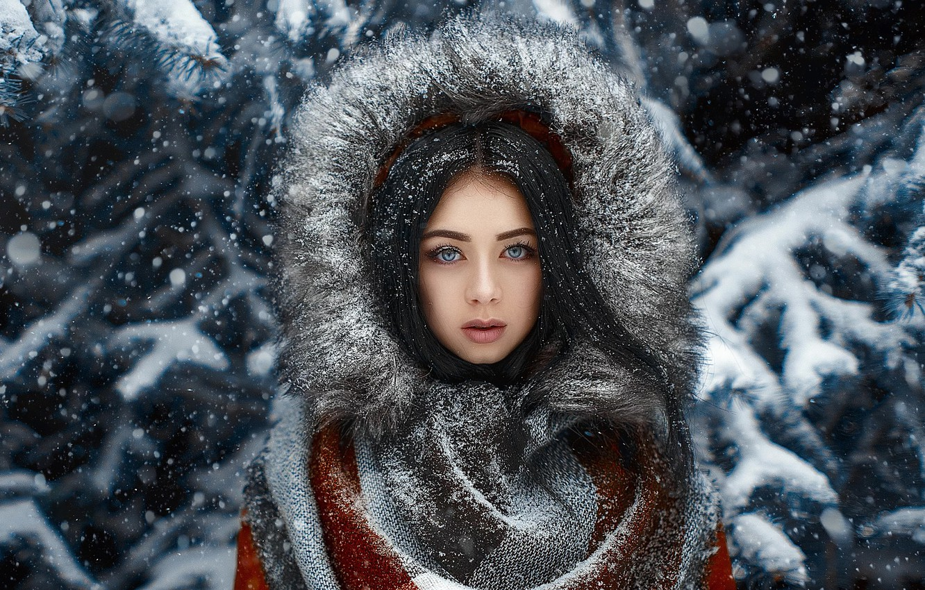 Photo wallpaper Girl, Look, Snow, Hair, Coat, Natalie
