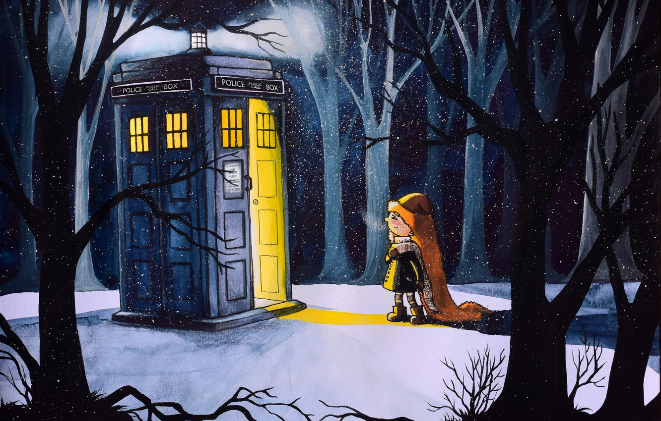 Photo wallpaper winter, forest, snow, figure, winter, art, girl, booth, Doctor Who, Doctor Who, The TARDIS, TARDIS