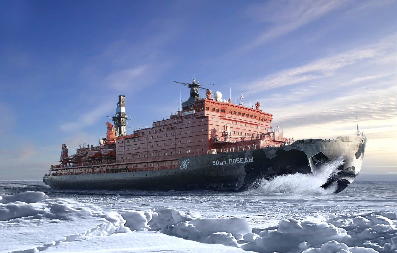 Photo wallpaper Winter, Sea, Snow, Board, Ice, The ship, Russia, 50 years of Victory, On the go, ...
