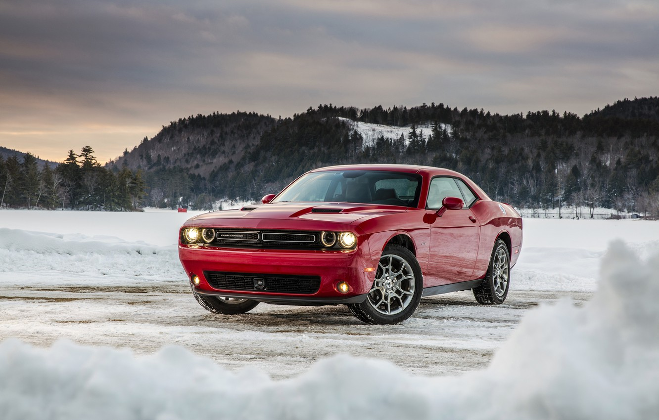 Photo wallpaper winter, Dodge, Challenger, Dodge, Challenger