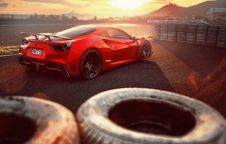Photo wallpaper Ferrari, supercar, Ferrari, GTB, Novitec Rosso, 488