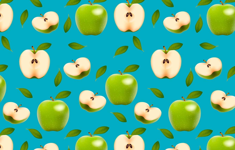 Photo wallpaper green, apples, fruit, halves