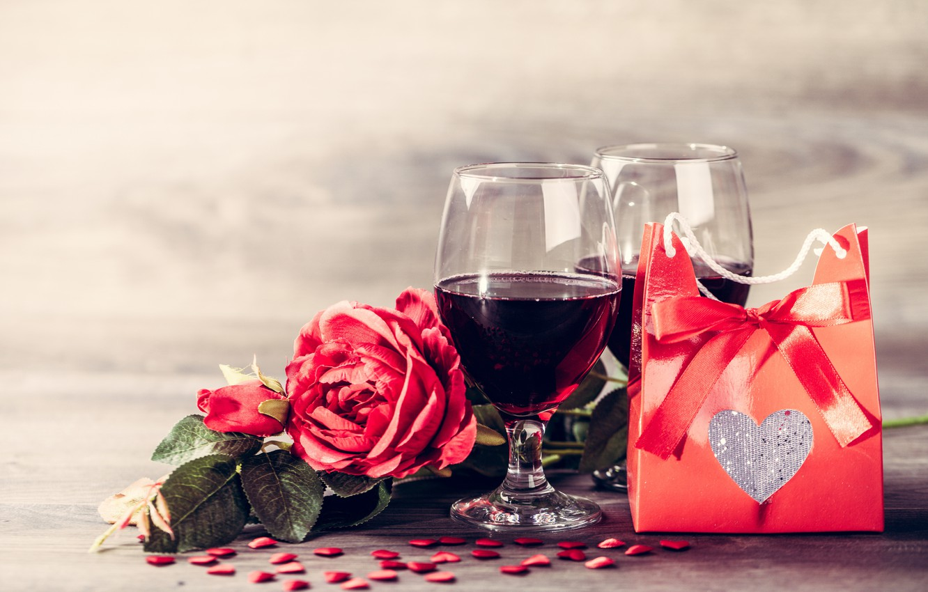 Photo wallpaper gift, wine, glasses, red, love, romantic, hearts, valentine's day, gift, roses, red roses