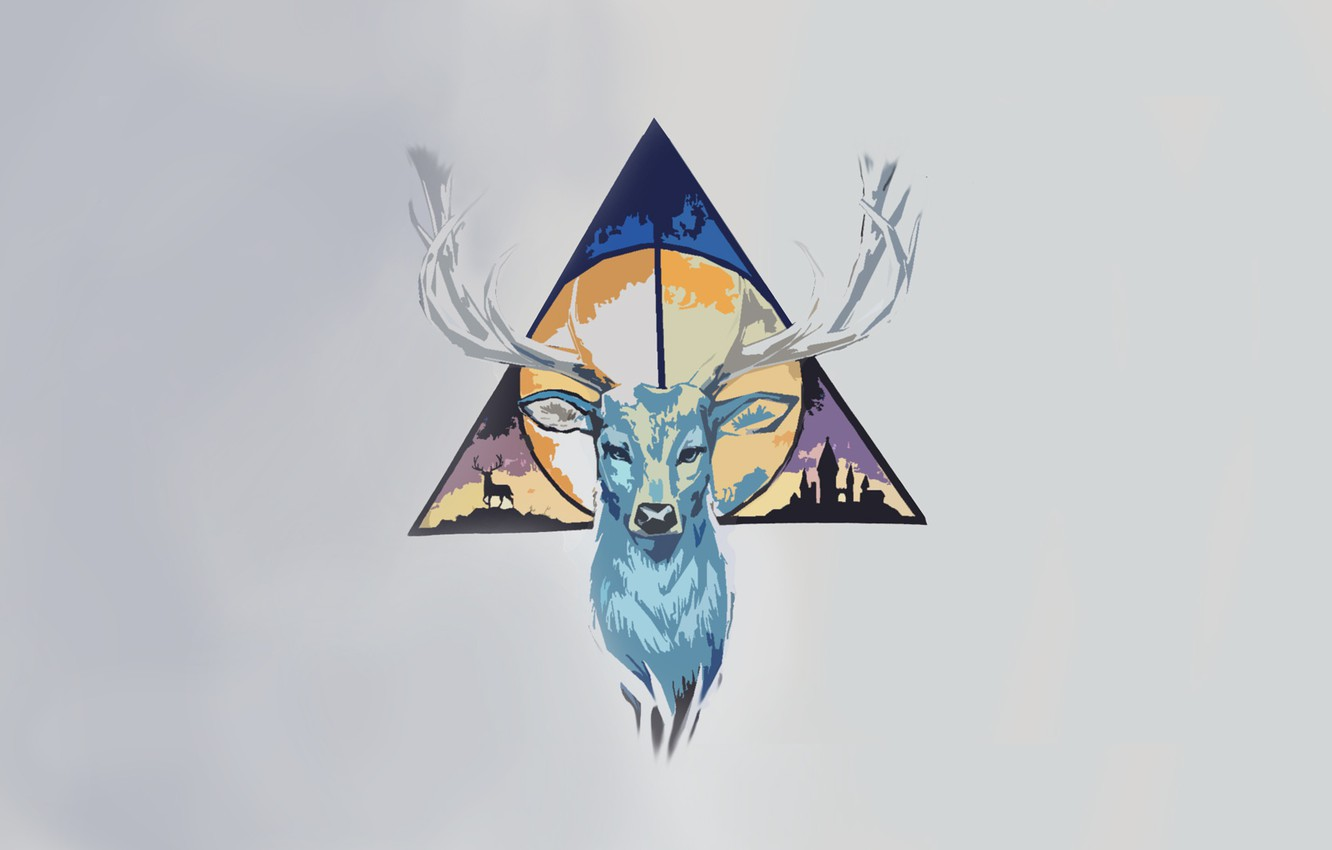 Wallpaper Minimalism Deer Triangle Harry Potter The Deathly