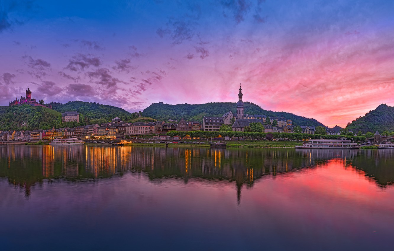 Photo wallpaper landscape, sunset, reflection, river, hills, Germany, Germany, Cochem, Cochem, the river Moselle, Moselle River, Rhineland-Palatinate, …