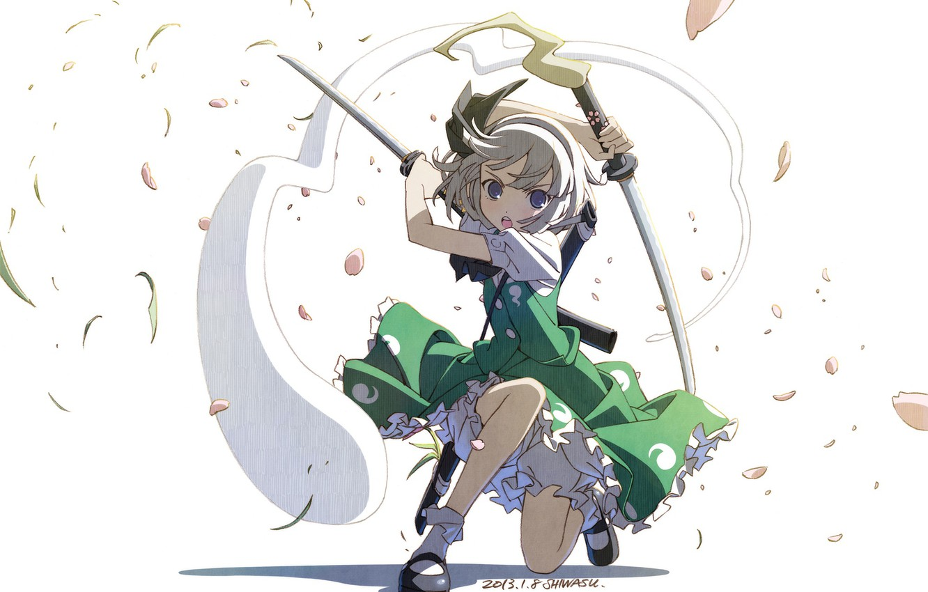 Photo wallpaper spirit, petals, white background, art, stand, katana, Myon, Konpaku Youmu, Touhou Project, Project East, Shiwasu