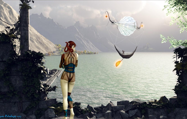 Photo wallpaper girl, mountains, ball, pond, Passage