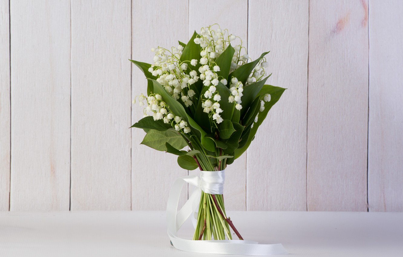 Photo wallpaper flowers, lilies of the valley, a bunch