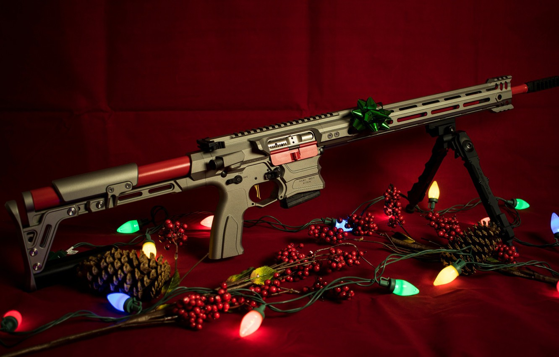 Photo wallpaper weapons, new year, garland, rifle, weapon, custom, ar-15, assault rifle, assault Rifle