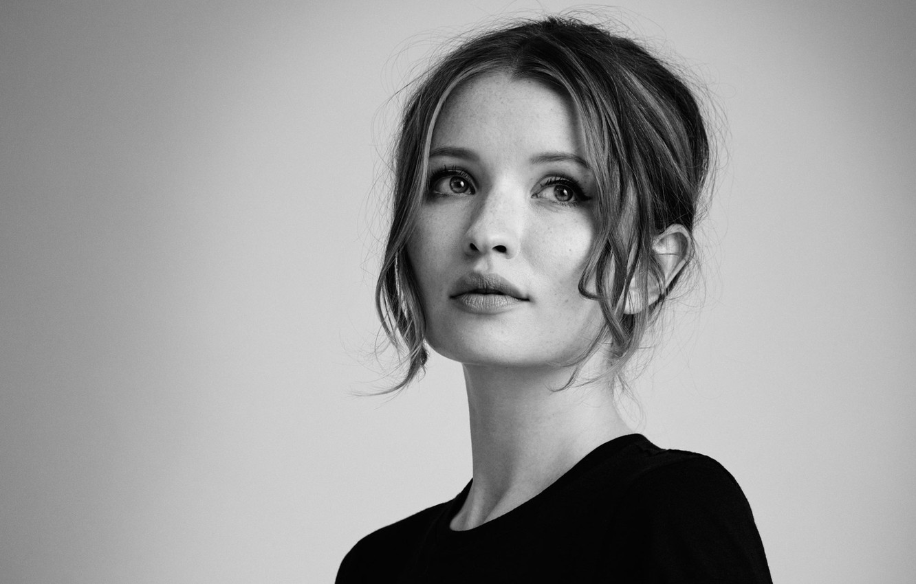 Photo wallpaper background, portrait, makeup, actress, hairstyle, black and white, beauty, photoshoot, Legend, InStyle, 2015, Emily Browning, …