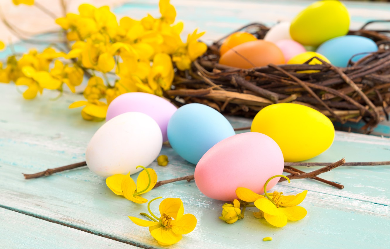 Photo wallpaper flowers, basket, eggs, spring, yellow, colorful, Easter, yellow, wood, pink, flowers, spring, Easter, eggs, decoration, …