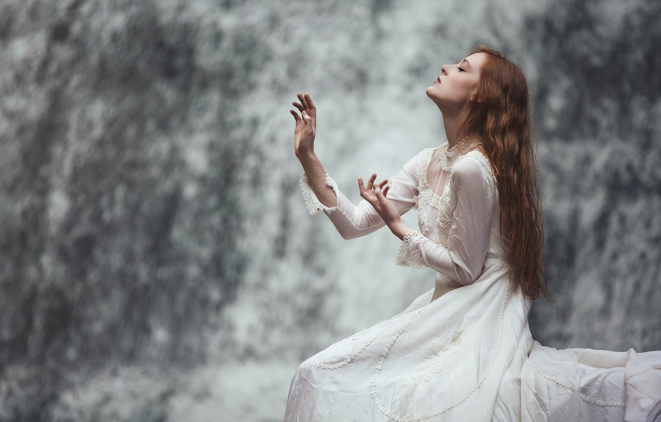 Photo wallpaper water, girl, face, pose, background, mood, waterfall, hands, dress, profile, red, long-haired, graceful