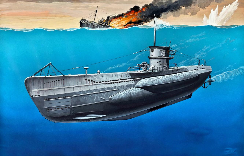 Photo wallpaper German, art, painting, submarine, VIIC, WWII, Type, U-Boot, Navy