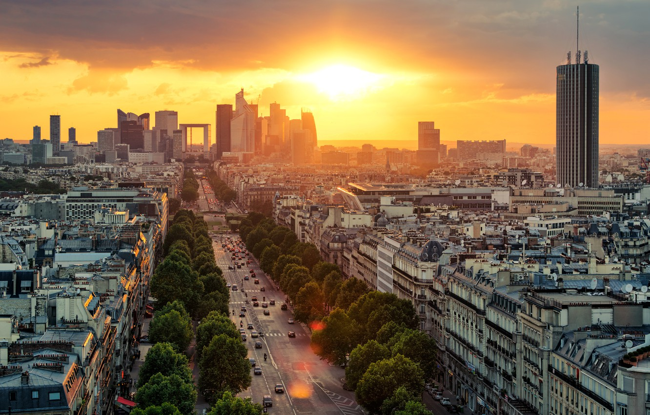 Photo wallpaper road, the sky, the sun, clouds, trees, dawn, transport, France, Paris, home, the view from ...