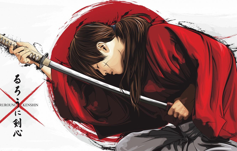 Photo wallpaper anime, art, samurai, guy, Rurouni Kenshin